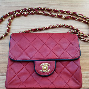Chanel Vintage Red Quilted Lambskin Mini Bag